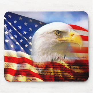 American Flag with Bald Eagle Mousepads