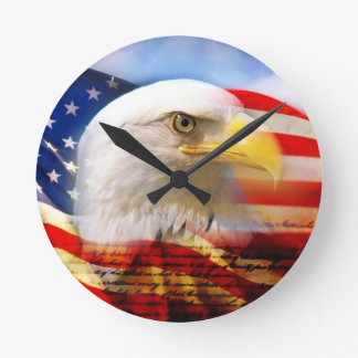 American Flag with Bald Eagle Round Clock