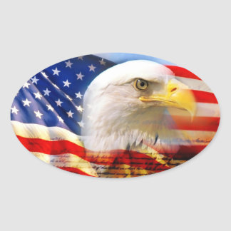 American Flag with Bald Eagle Stucker Oval Sticker
