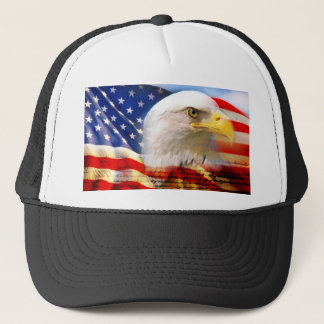 American Flag with Bald Eagle Trucker Hat