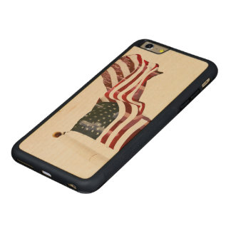 American Flag with Crosses Carved Maple iPhone 6 Plus Bumper Case