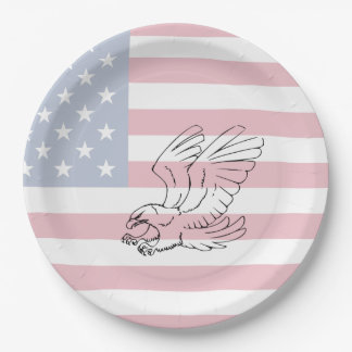 American Flag with Eagle Patriotic Paper Plates