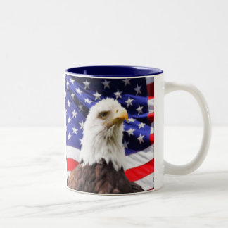 American Flag with Eagle Two-Tone Coffee Mug
