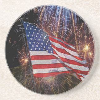 American Flag With Fireworks Background Design Coaster