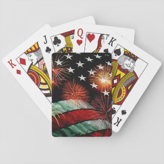 American flag with fireworks playing cards