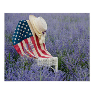 American Flag with Hat Poster