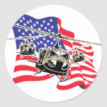 American Flag with Helicopters Round Sticker