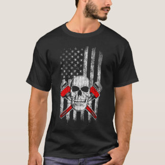American Flag with Plumber Skull and Wrenches T-Shirt