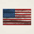 American Flag with Rough Wood Grain Effect Business Card