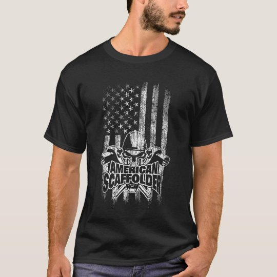 American Flag with Scaffolder Skull and Ratchets T-Shirt