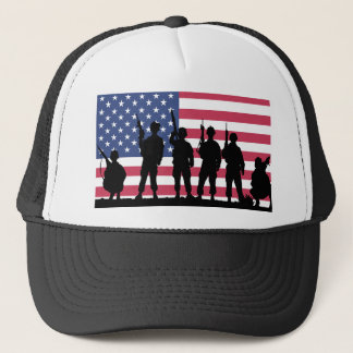 American flag with Soldiers silhouette Trucker Hat