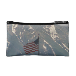 American Flag with Utah Mountain Background Cosmetic Bags