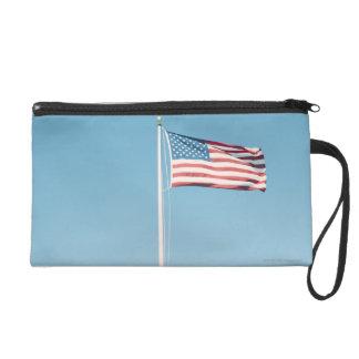 American flag with vintage look wristlet