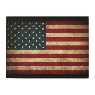 American Flag Wood Canvas
