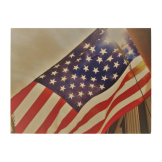American Flag Wood Decoration