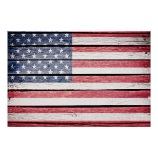American Flag Wood Image Poster