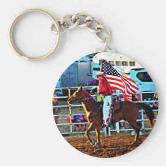 American Flage bearer at the Merbein Rodeo Keychains