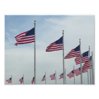 American Flags at the Washington Monument Photograph