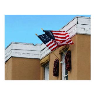 American Flags Flying on Albuquerque Adobe Postcard