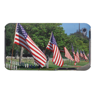 American flags lining street, cemetery in barely there iPod cover