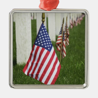 American flags on tombs of American Veterans on 2 Christmas Ornament