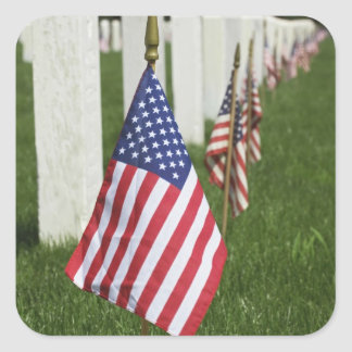 American flags on tombs of American Veterans on 2 Square Sticker