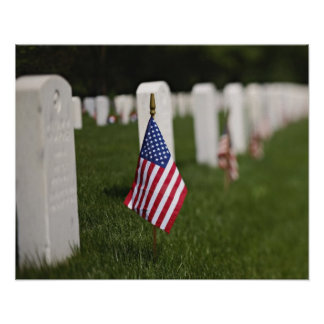 American flags on tombs of American Veterans on Poster