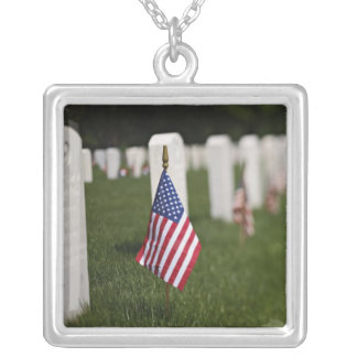 American flags on tombs of American Veterans on Silver Plated Necklace