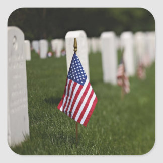 American flags on tombs of American Veterans on Square Sticker