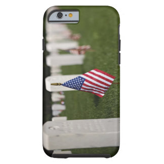 American flags on tombs of American Veterans on Tough iPhone 6 Case