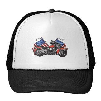 American Flags Patriotic Motorcycle Trucker Hat