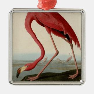 American Flamingo Silver-Colored Square Decoration