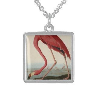 American Flamingo Square Pendant Necklace