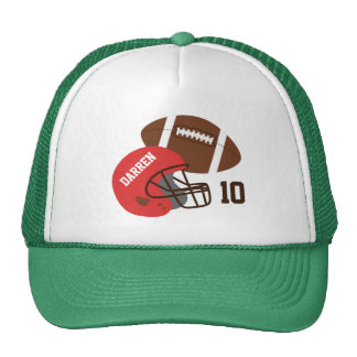American Football and Red Helmet Hats