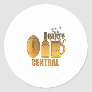 american football ball beer chips party central round stickers