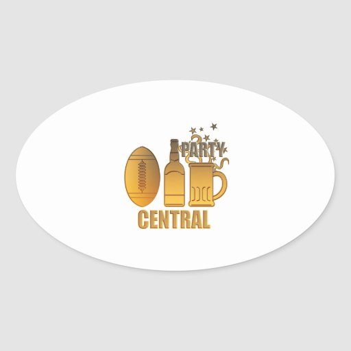 american football ball beer chips party central sticker