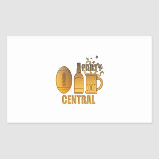 american football ball beer chips party central rectangle sticker