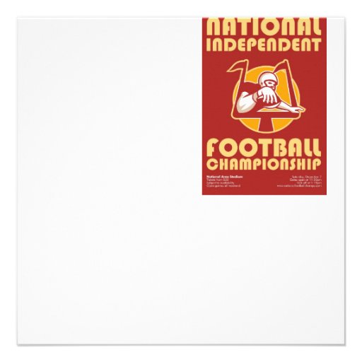 American Football Championship Poster Art Personalised Invite