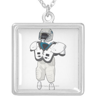 American football gear silver plated necklace