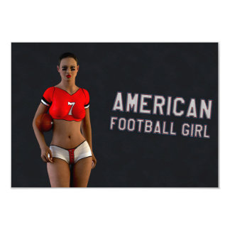American Football Girl Chablis 9 Cm X 13 Cm Invitation Card