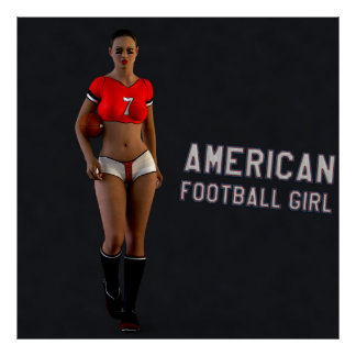 American Football Girl Chablis Poster