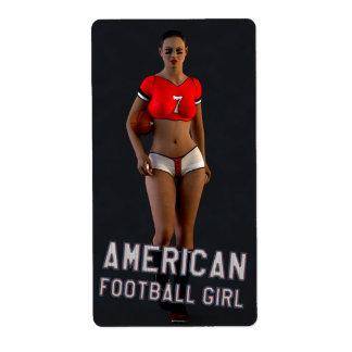 American Football Girl Chablis Shipping Label