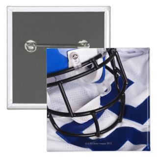 American football helmet and shirt still life 15 cm square badge