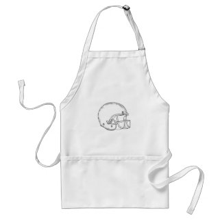 American Football Helmet Black and White Drawing Standard Apron