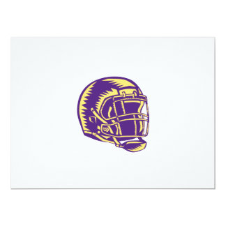 American Football Helmet Woodcut 17 Cm X 22 Cm Invitation Card