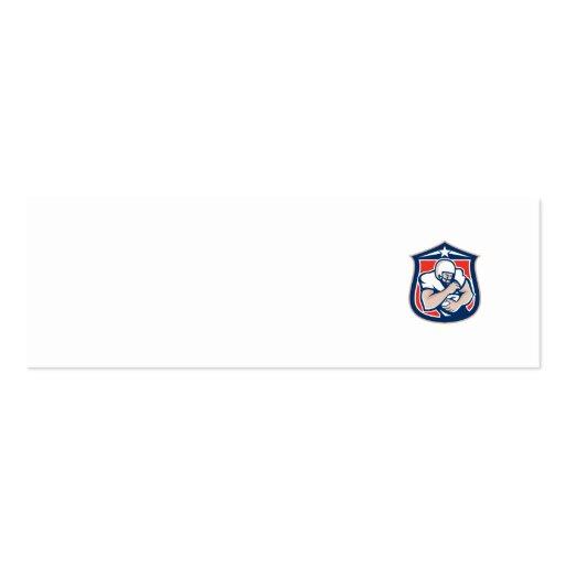 American Football Holding Ball Shield Retro Business Card