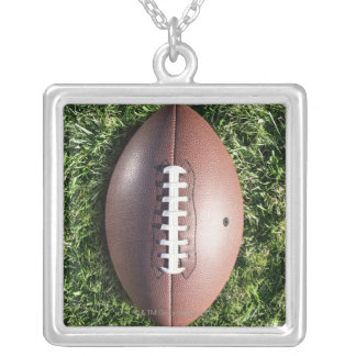 American football on grass silver plated necklace