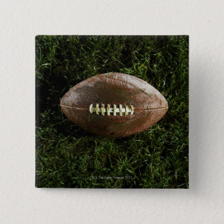 American football on grass, view from above 15 cm square badge