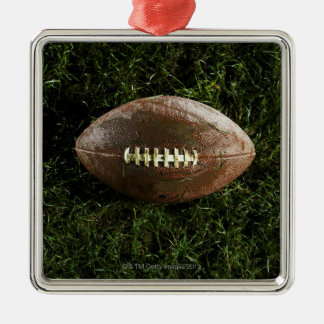 American football on grass, view from above Silver-Colored square decoration