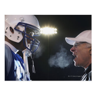 American football player and referee arguing, postcard